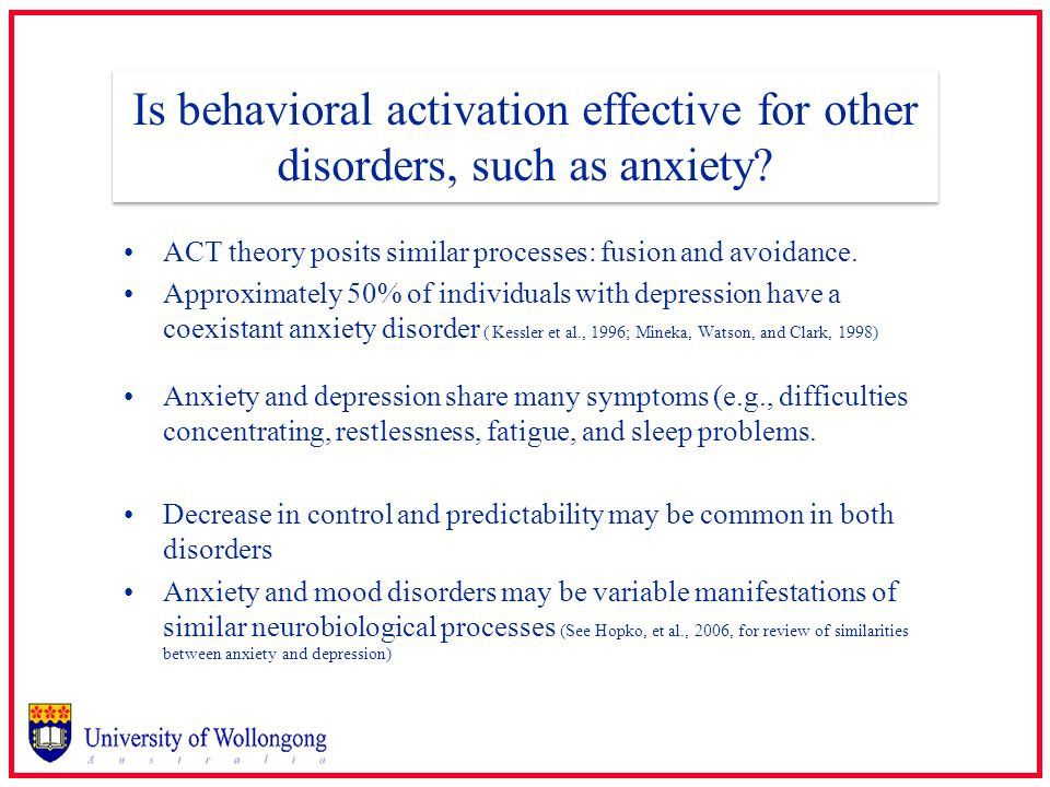 Is behavioral activation effective for other disorders, such as anxiety