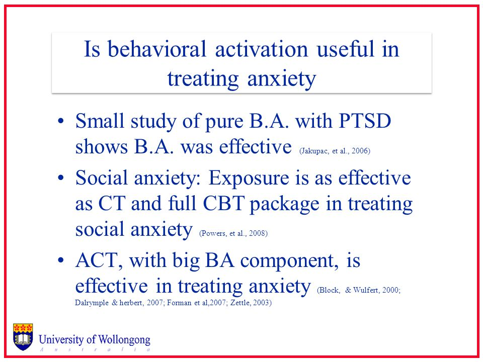 Is behavioral activation useful in treating anxiety