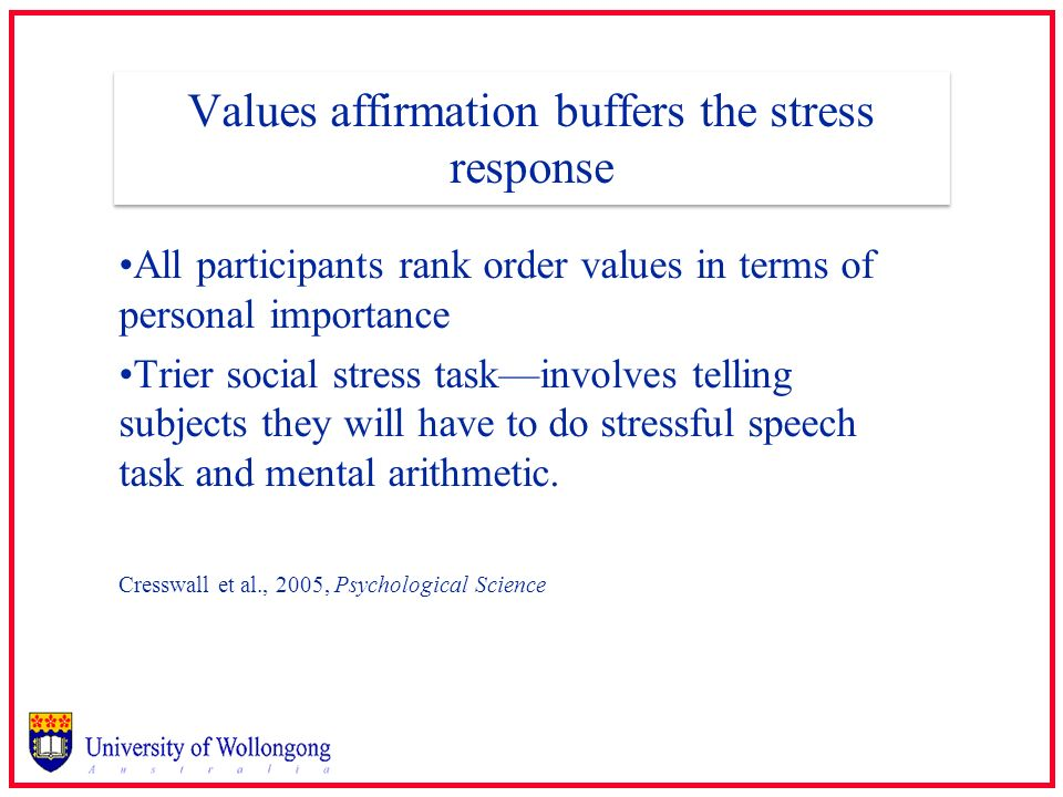 Values affirmation buffers the stress response