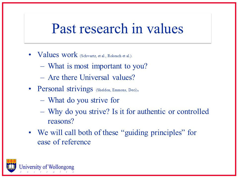 Past research in values