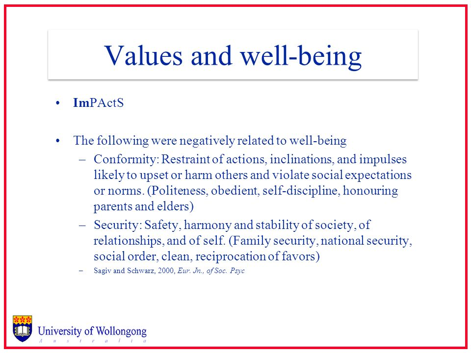 Values and well-being ImPActS