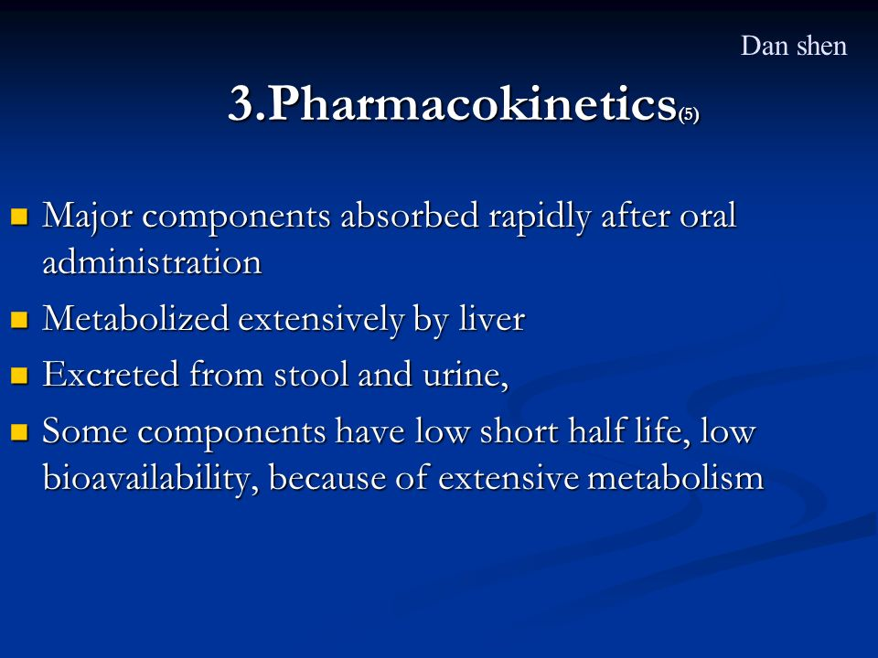 Dan shen 3.Pharmacokinetics(5) Major components absorbed rapidly after oral administration. Metabolized extensively by liver.