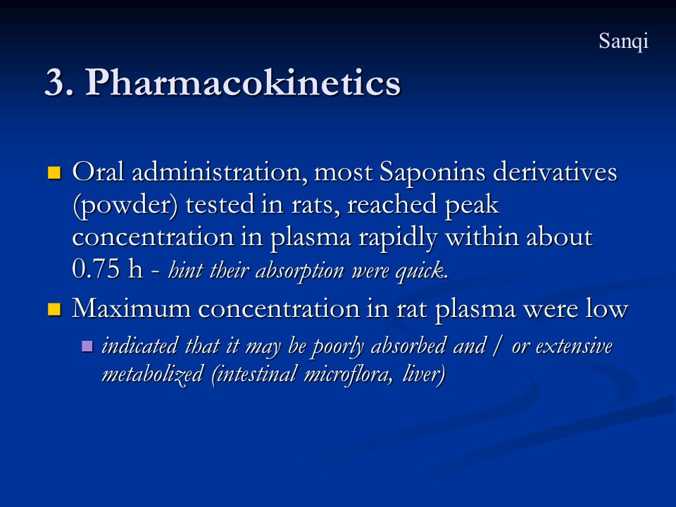 Sanqi 3. Pharmacokinetics.