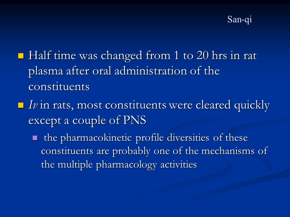 San-qi Half time was changed from 1 to 20 hrs in rat plasma after oral administration of the constituents.