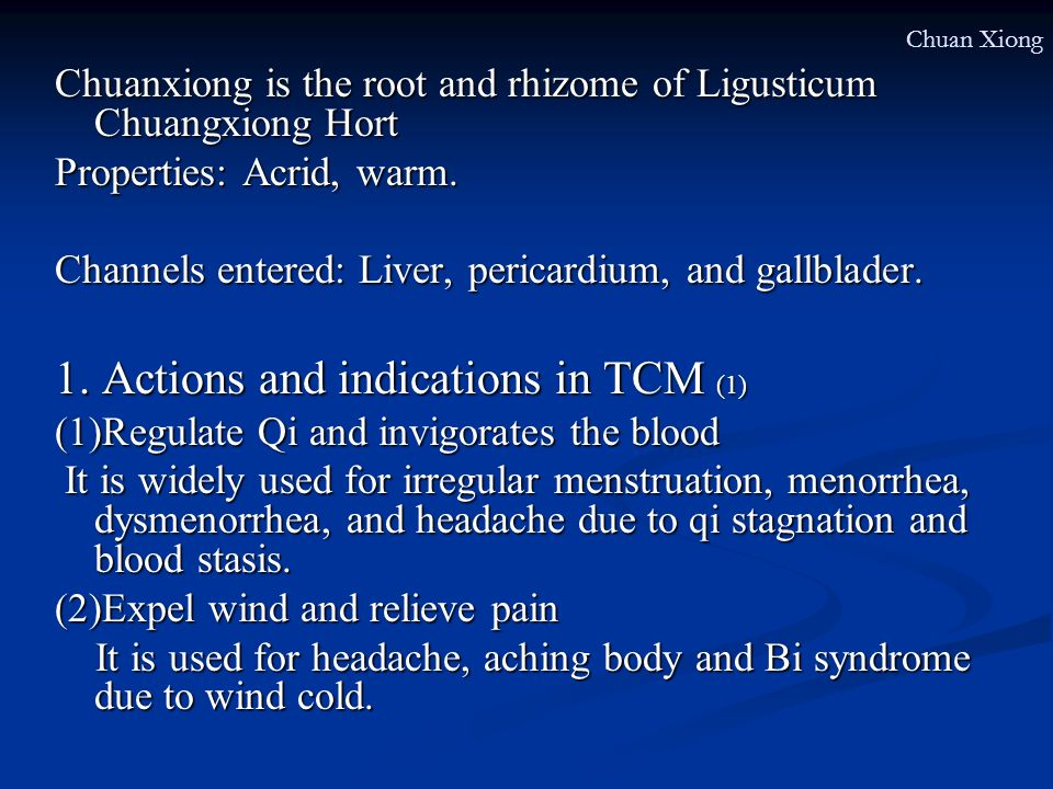 1. Actions and indications in TCM (1)