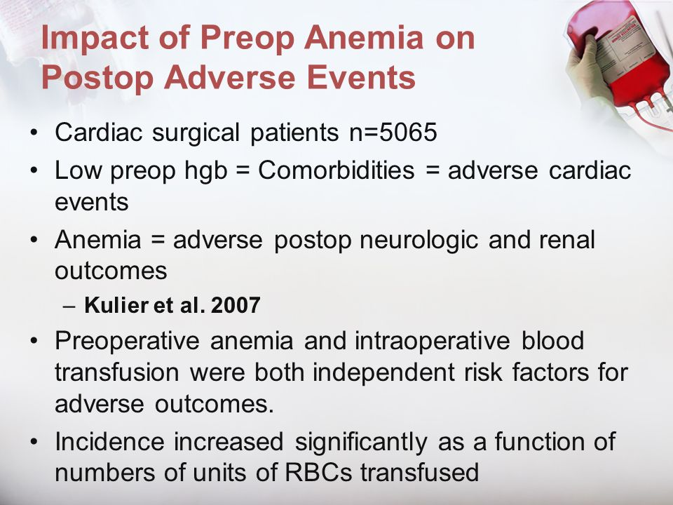 Impact of Preop Anemia on Postop Adverse Events