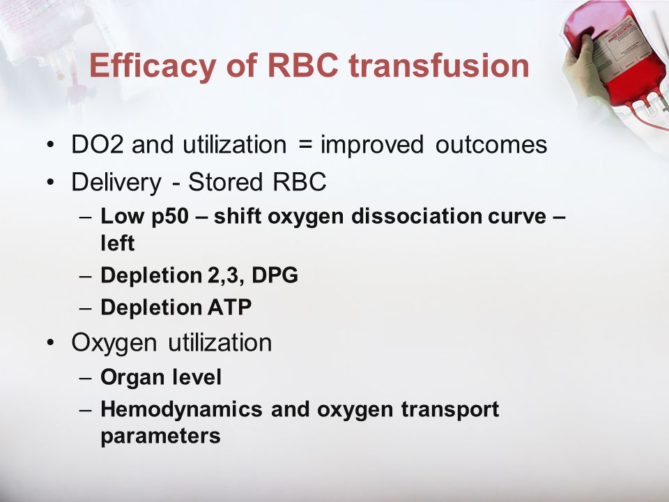 Efficacy of RBC transfusion