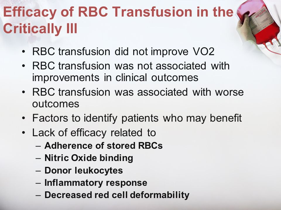 Efficacy of RBC Transfusion in the Critically Ill