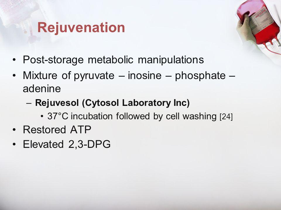 Rejuvenation Post-storage metabolic manipulations