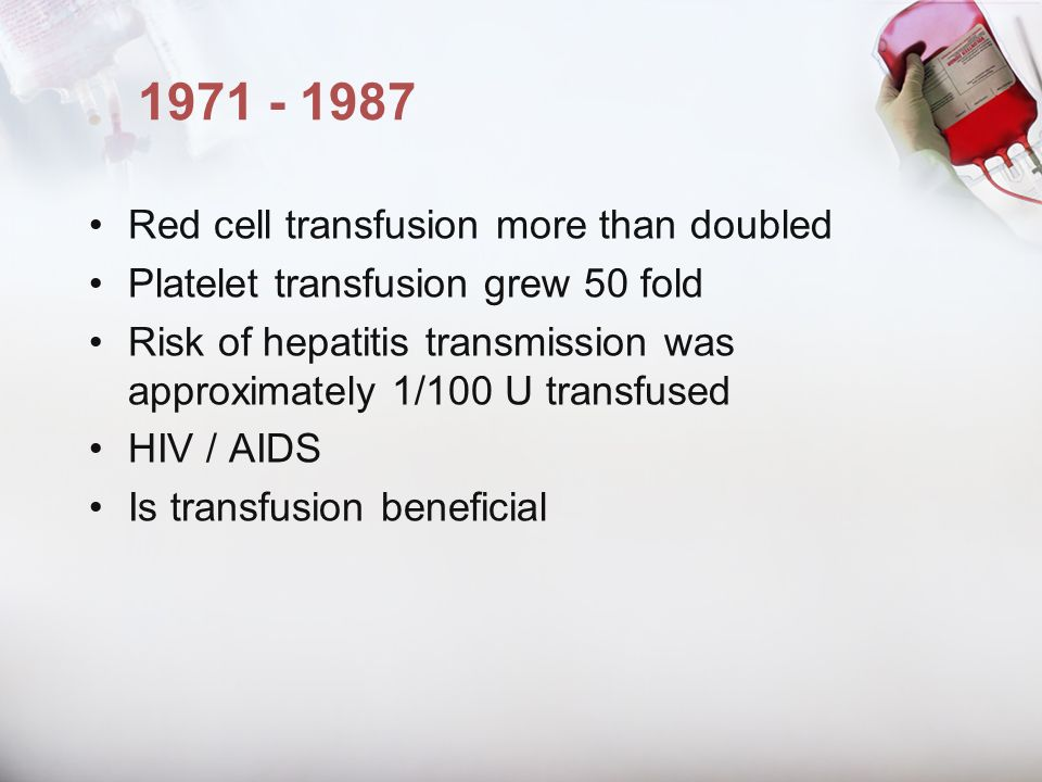 1971 - 1987 Red cell transfusion more than doubled