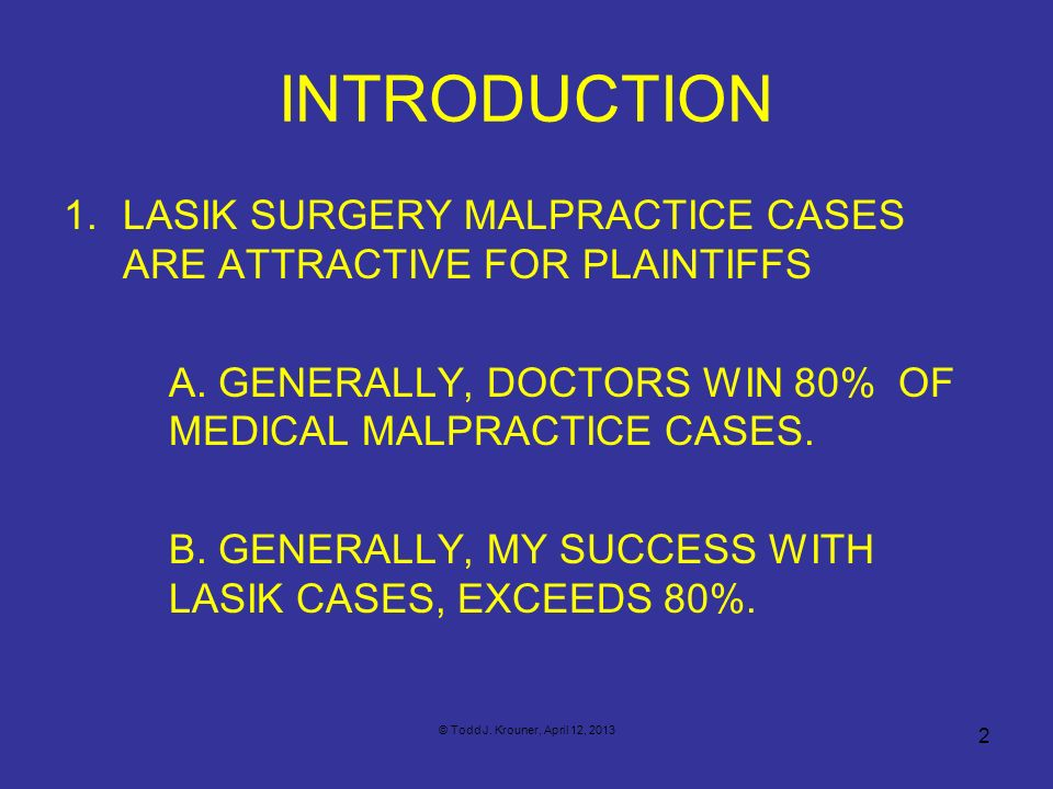 Draft 4/12/13 Introduction. LASIK Surgery Malpractice Cases Are Attractive FOR Plaintiffs.