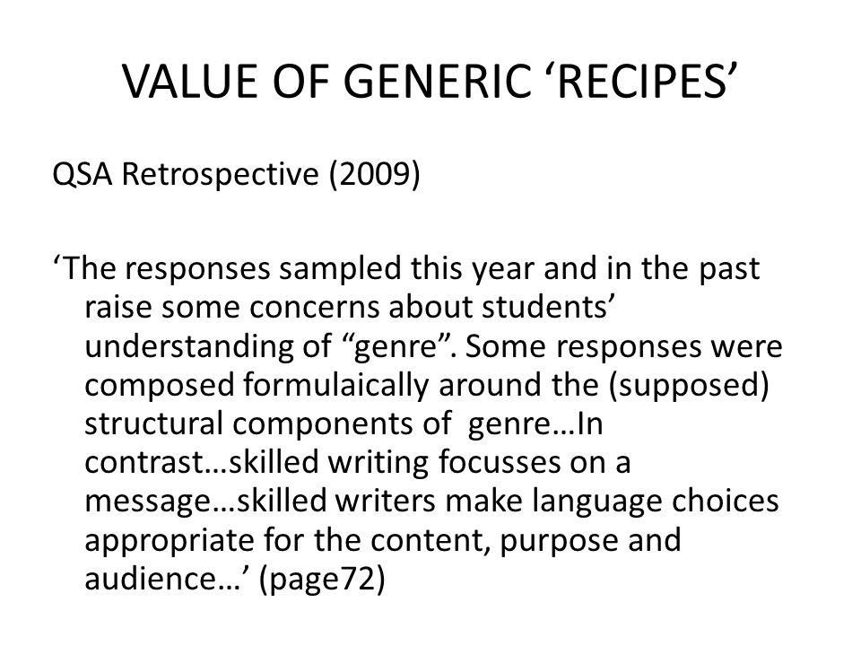 VALUE OF GENERIC 'RECIPES'