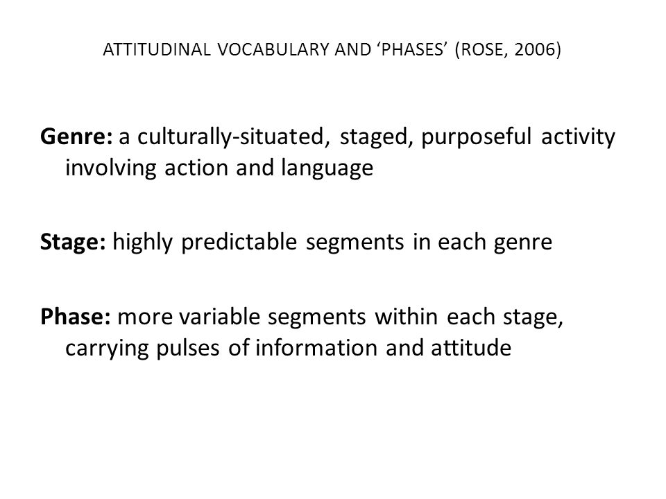 ATTITUDINAL VOCABULARY AND 'PHASES' (ROSE, 2006)