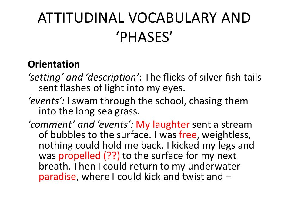 ATTITUDINAL VOCABULARY AND 'PHASES'