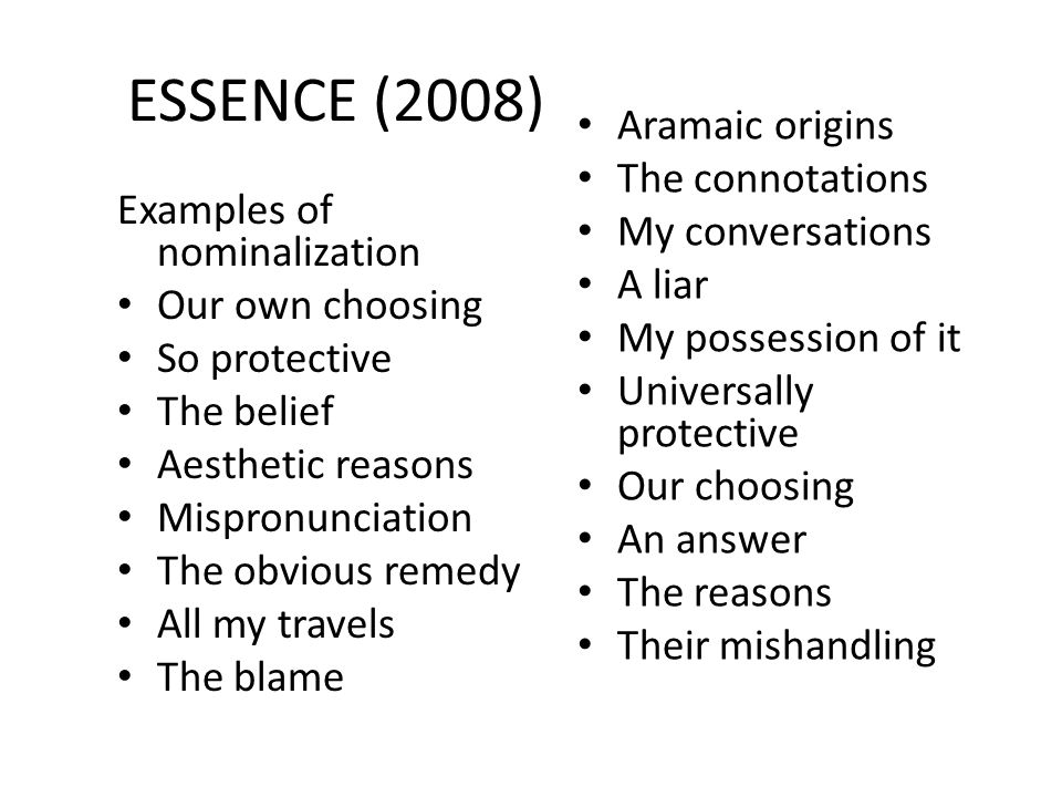 ESSENCE (2008) Aramaic origins The connotations My conversations