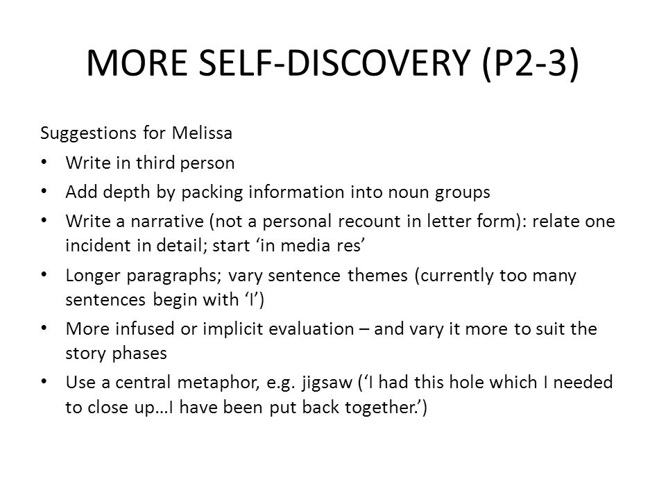 MORE SELF-DISCOVERY (P2-3)