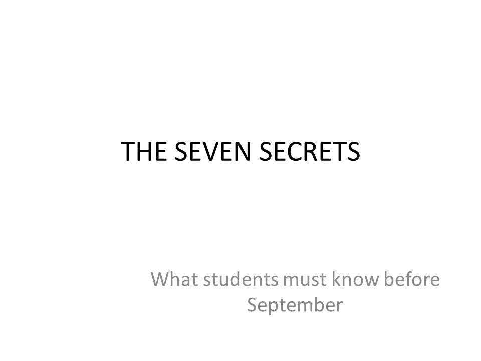 What students must know before September