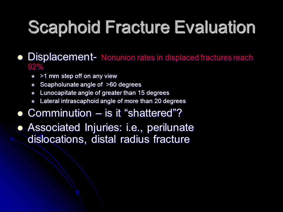 Scaphoid Fracture Evaluation