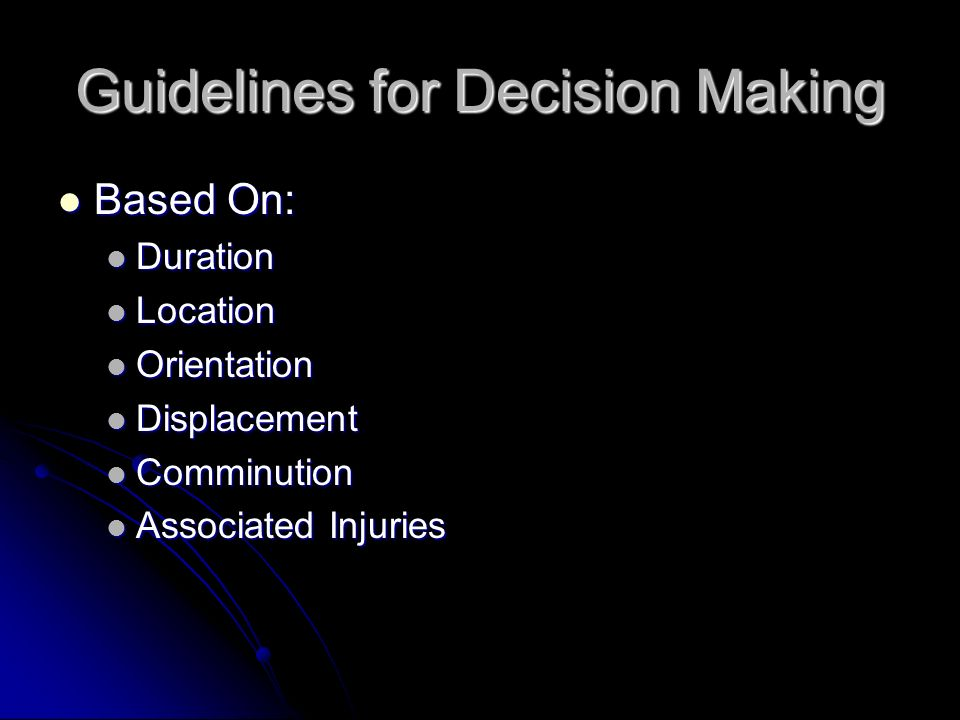 Guidelines for Decision Making