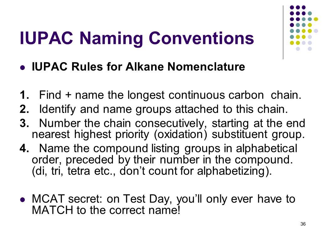 IUPAC Naming Conventions