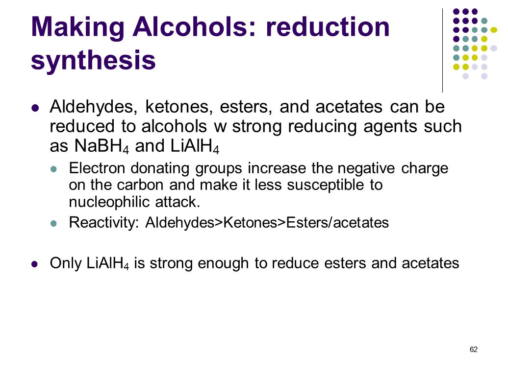 Making Alcohols: reduction synthesis