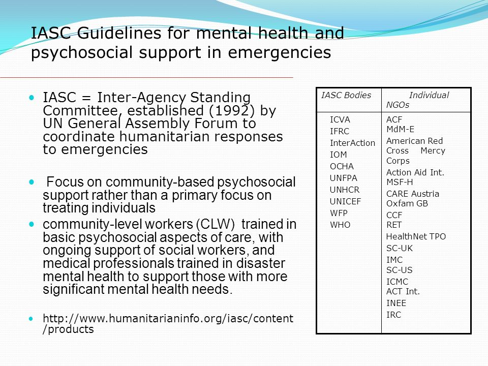 IASC Guidelines for mental health and psychosocial support in emergencies