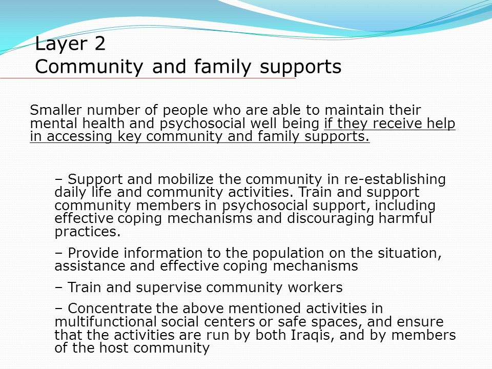 Layer 2 Community and family supports