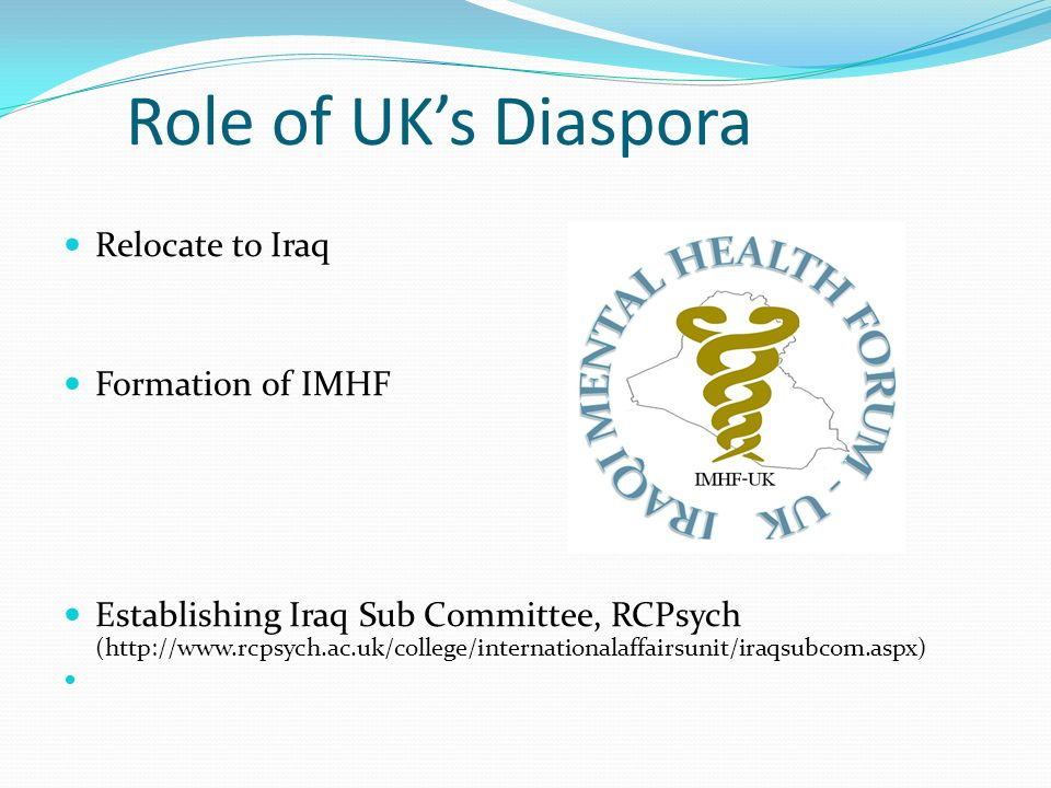 Role of UK's Diaspora Relocate to Iraq Formation of IMHF
