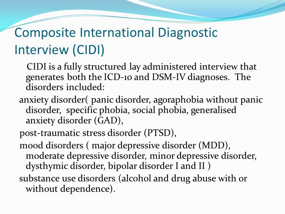 Composite International Diagnostic Interview (CIDI)