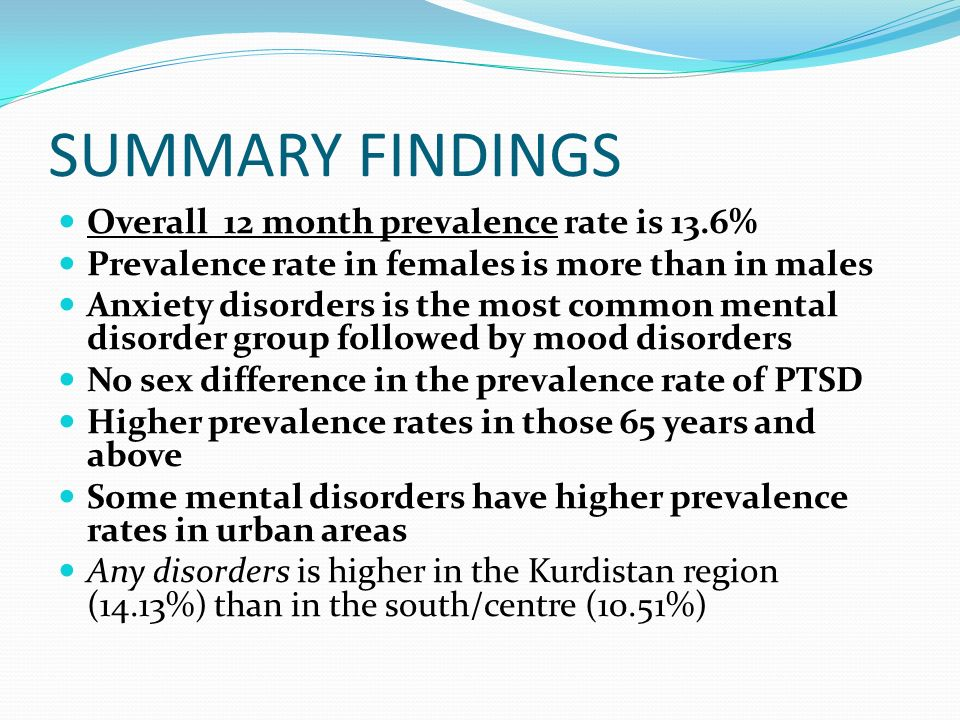 SUMMARY FINDINGS Overall 12 month prevalence rate is 13.6%