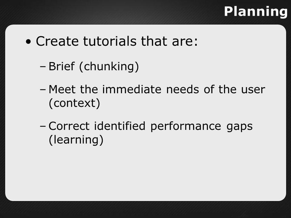 Create tutorials that are: