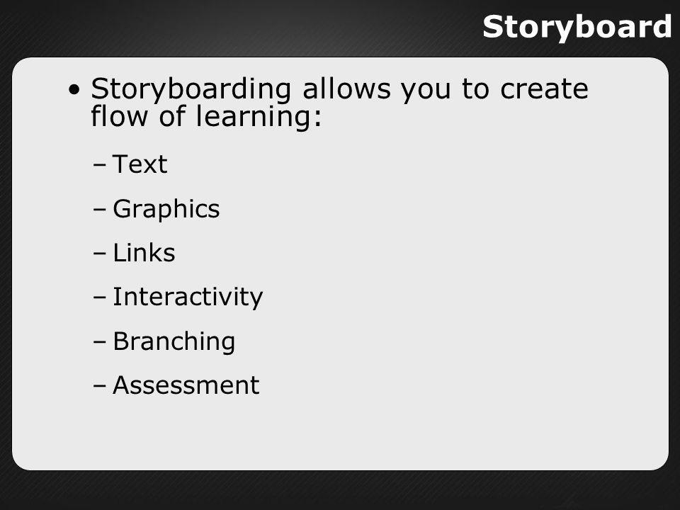 Storyboard Storyboarding allows you to create flow of learning: Text