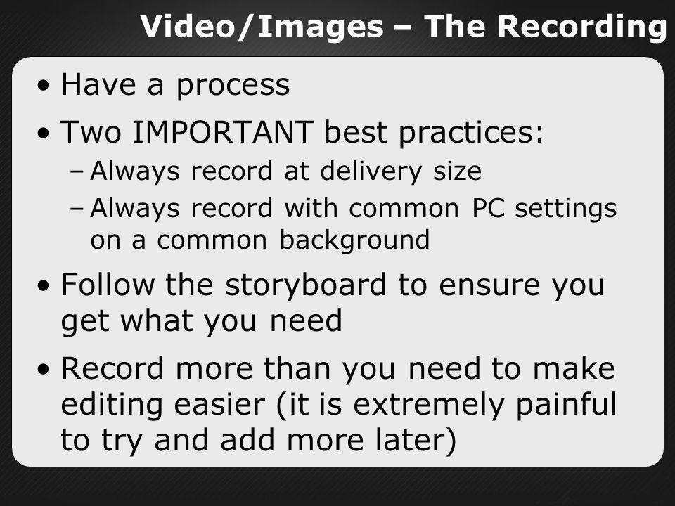 Video/Images – The Recording