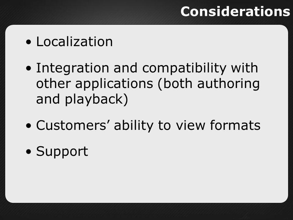 Considerations Localization. Integration and compatibility with other applications (both authoring and playback)