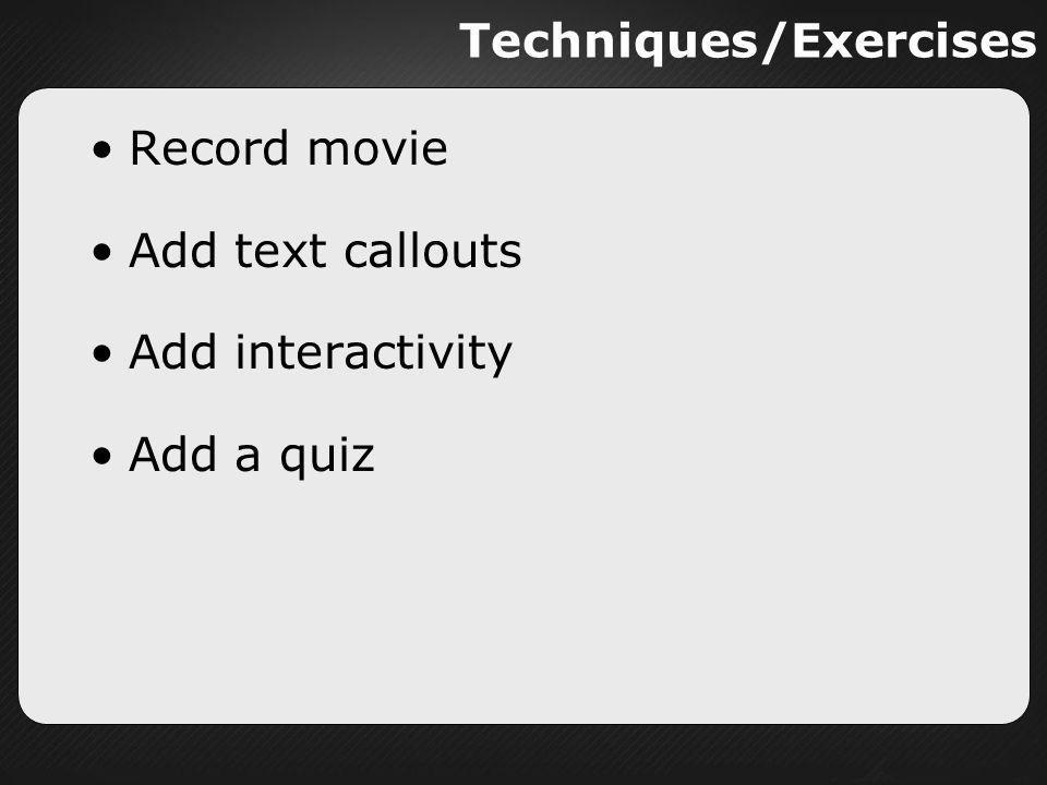 Techniques/Exercises