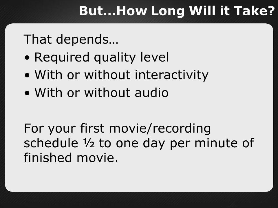 But…How Long Will it Take
