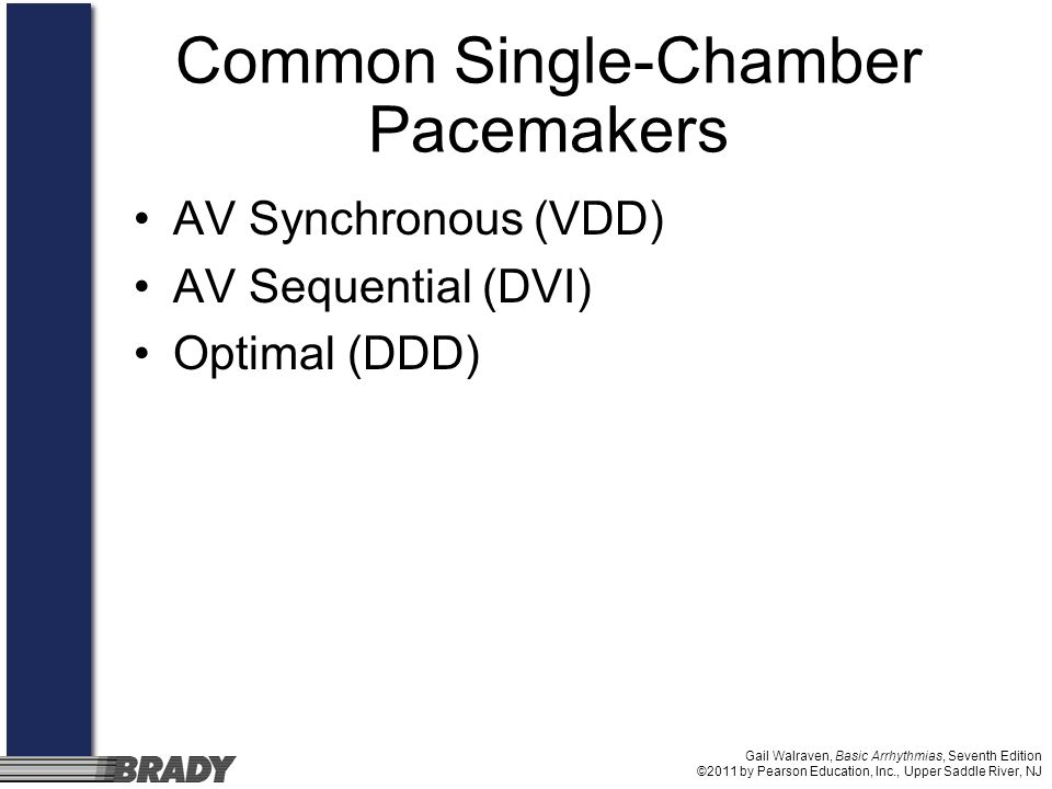 Common Single-Chamber Pacemakers