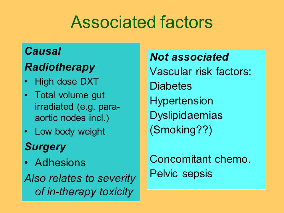 Associated factors Causal Radiotherapy Not associated