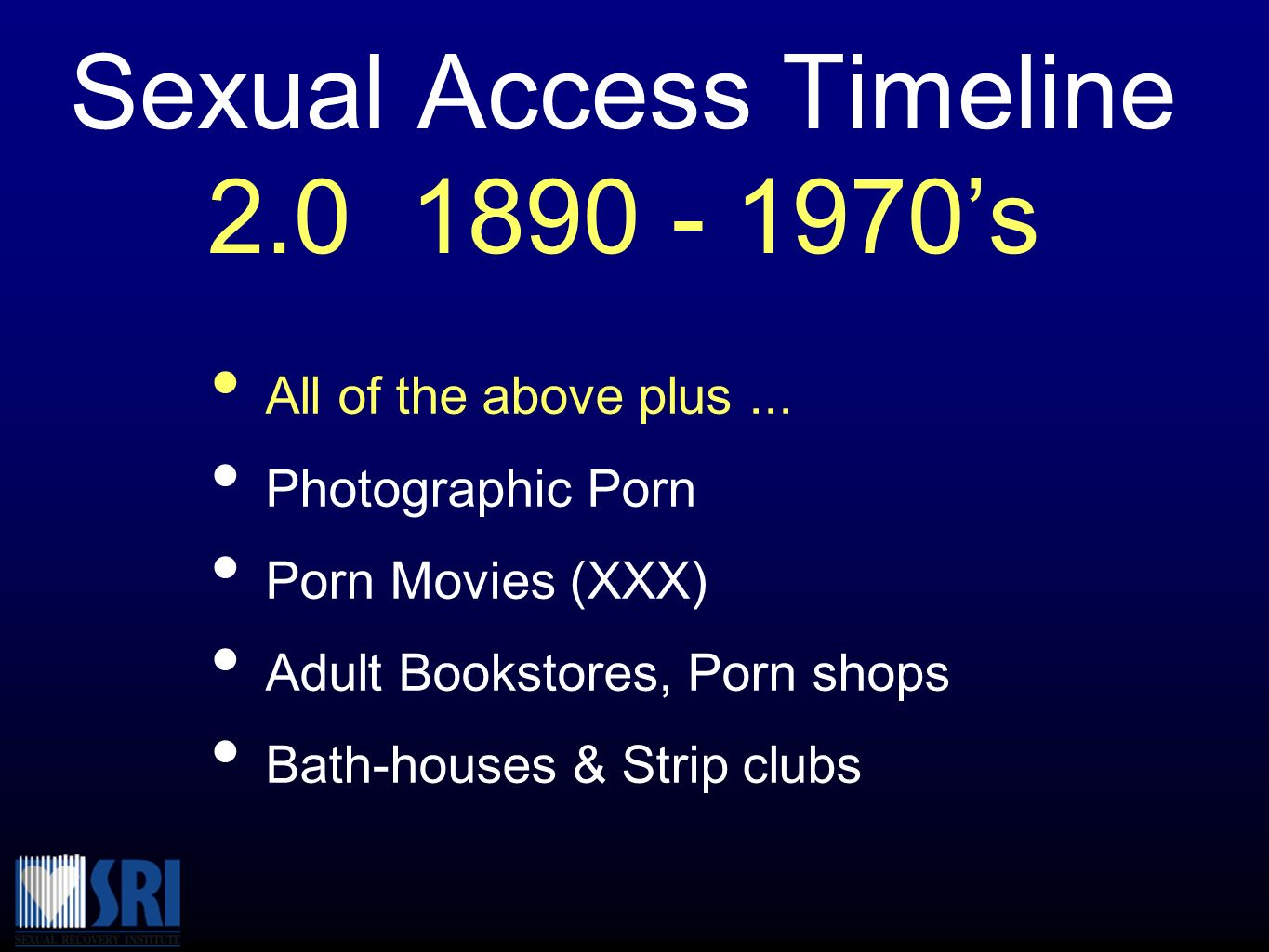 Sexual Access Timeline 2.0 1890 - 1970's