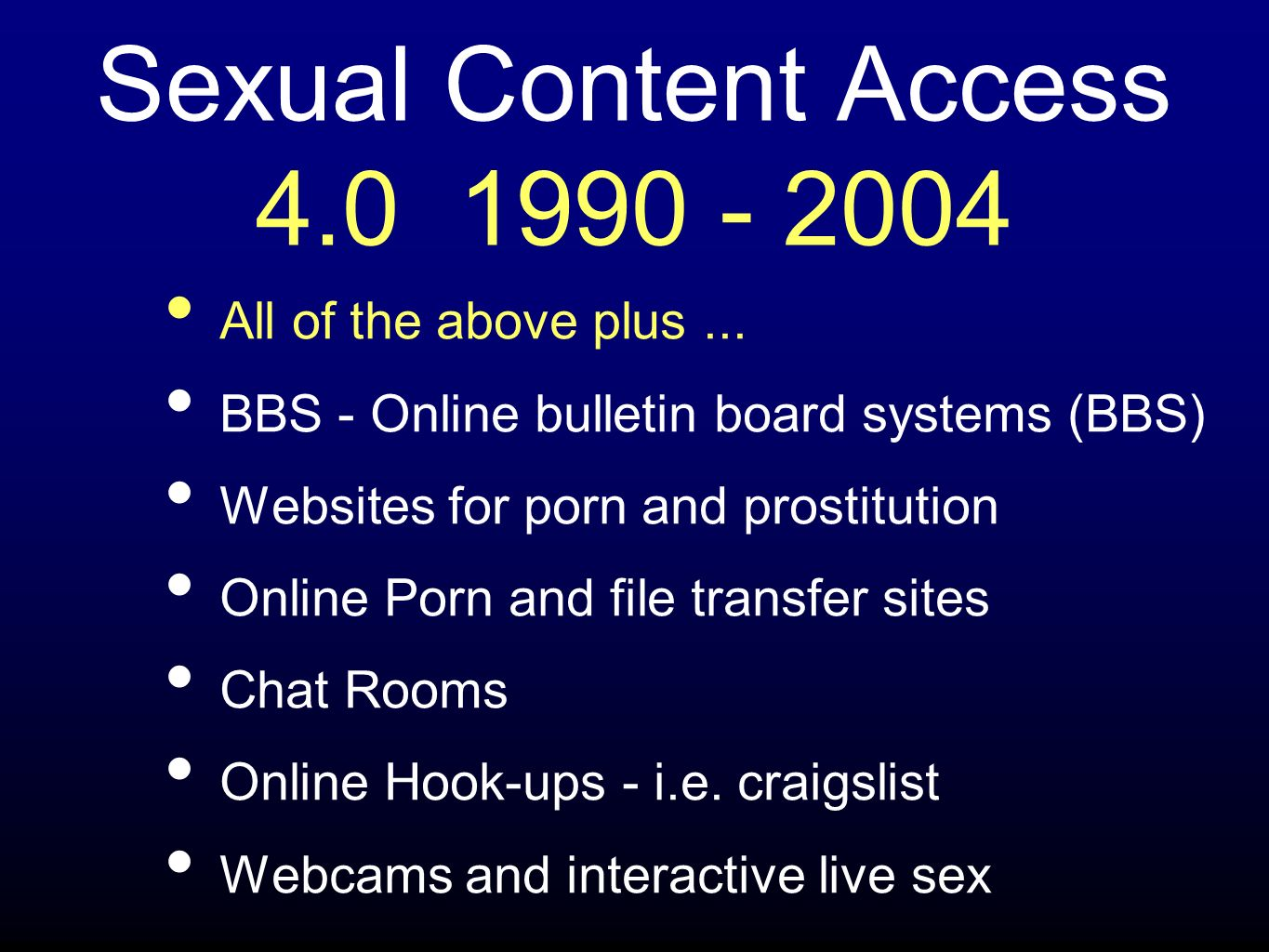 Sexual Content Access 4.0 1990 - 2004