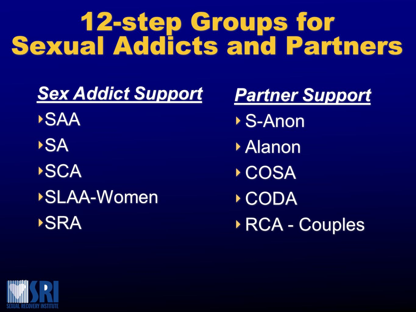 12-step Groups for Sexual Addicts and Partners