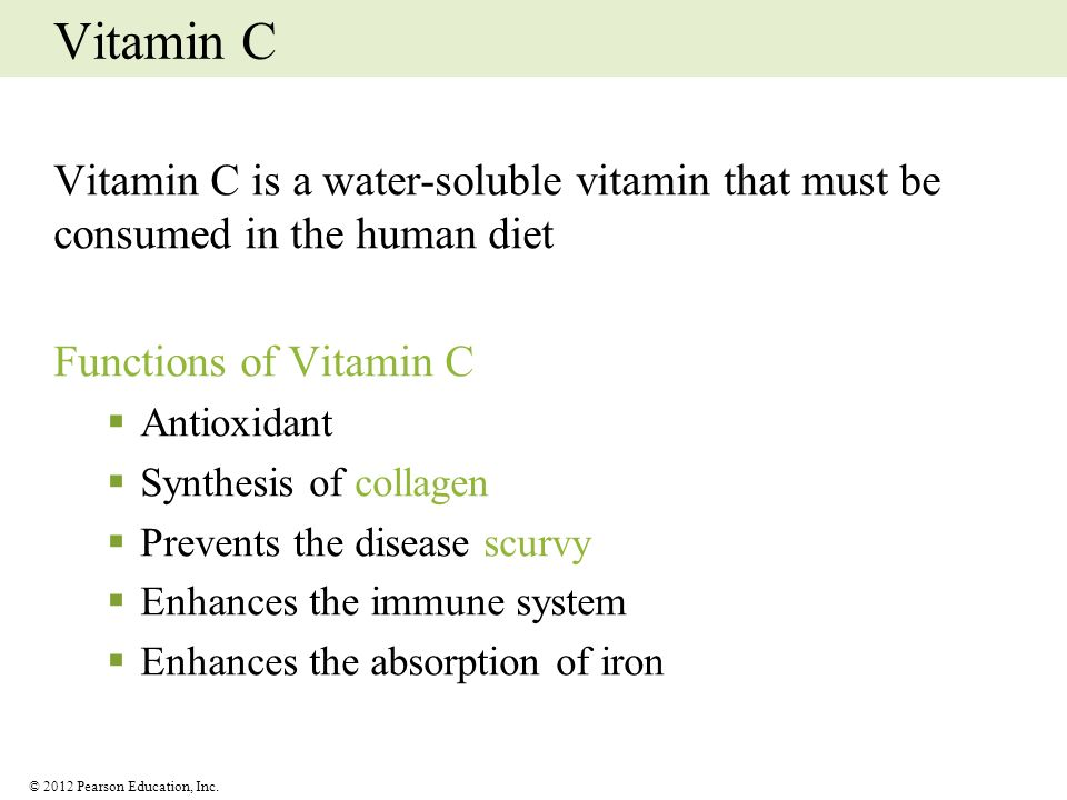 Vitamin C Vitamin C is a water-soluble vitamin that must be consumed in the human diet. Functions of Vitamin C.
