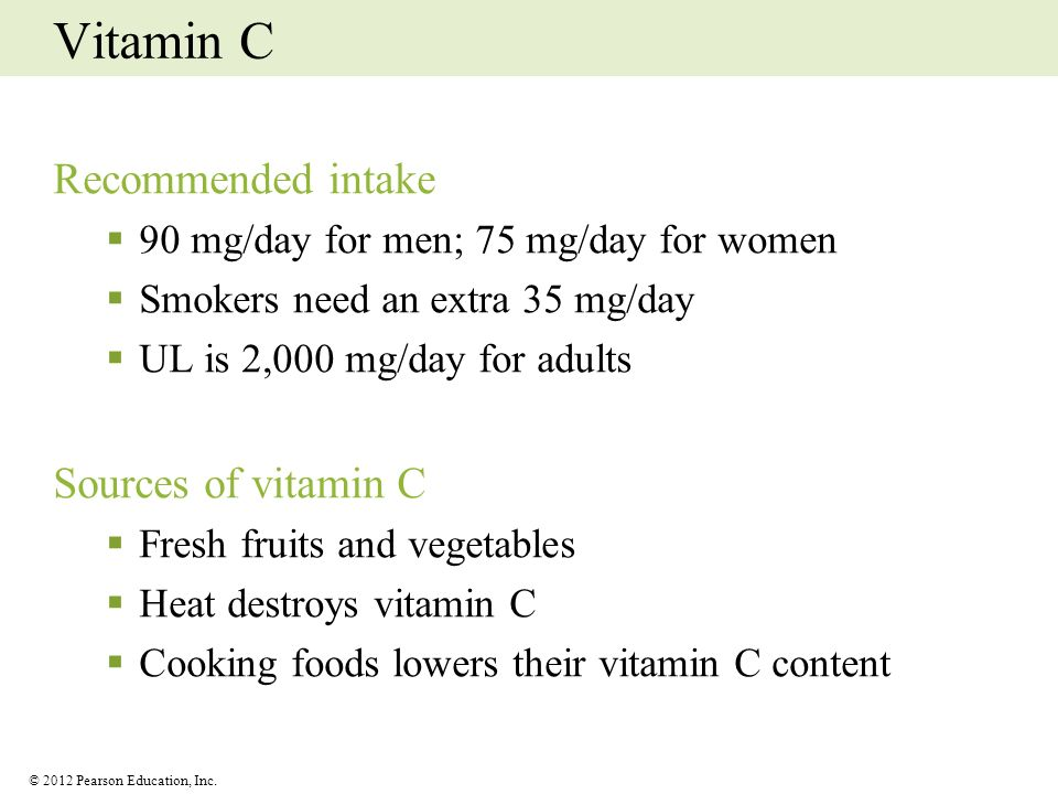Vitamin C Recommended intake Sources of vitamin C