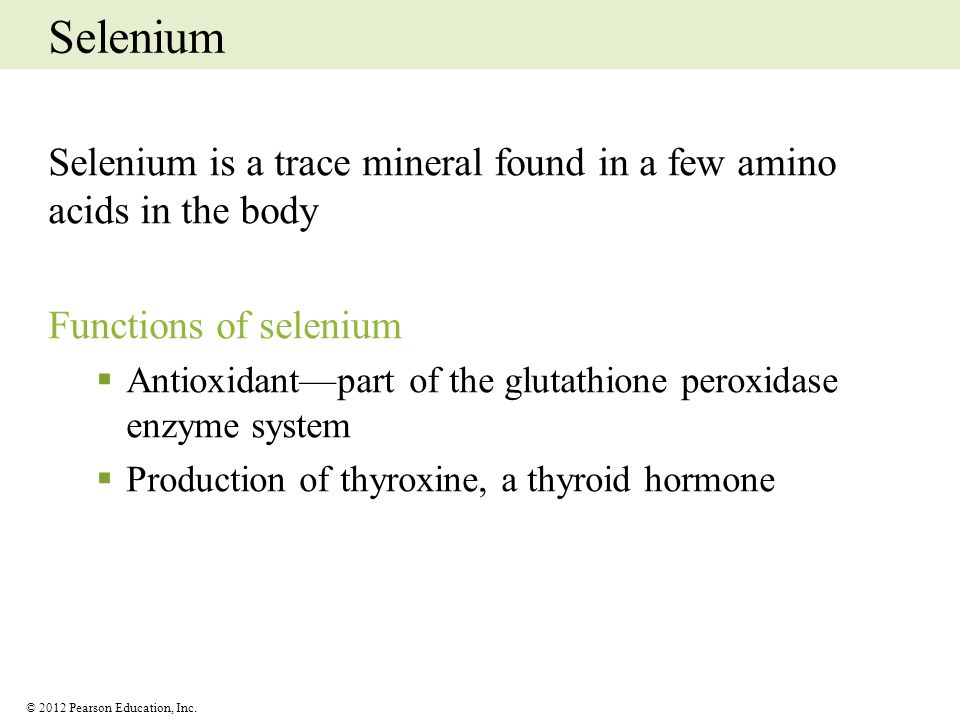 Selenium Selenium is a trace mineral found in a few amino acids in the body. Functions of selenium.