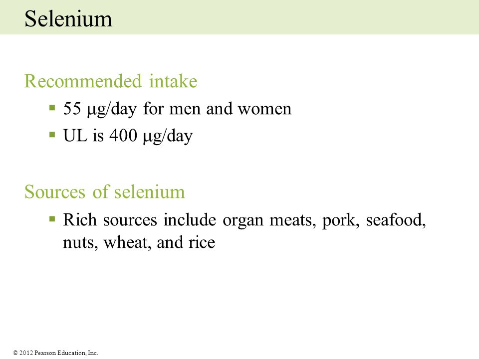 Selenium Recommended intake Sources of selenium