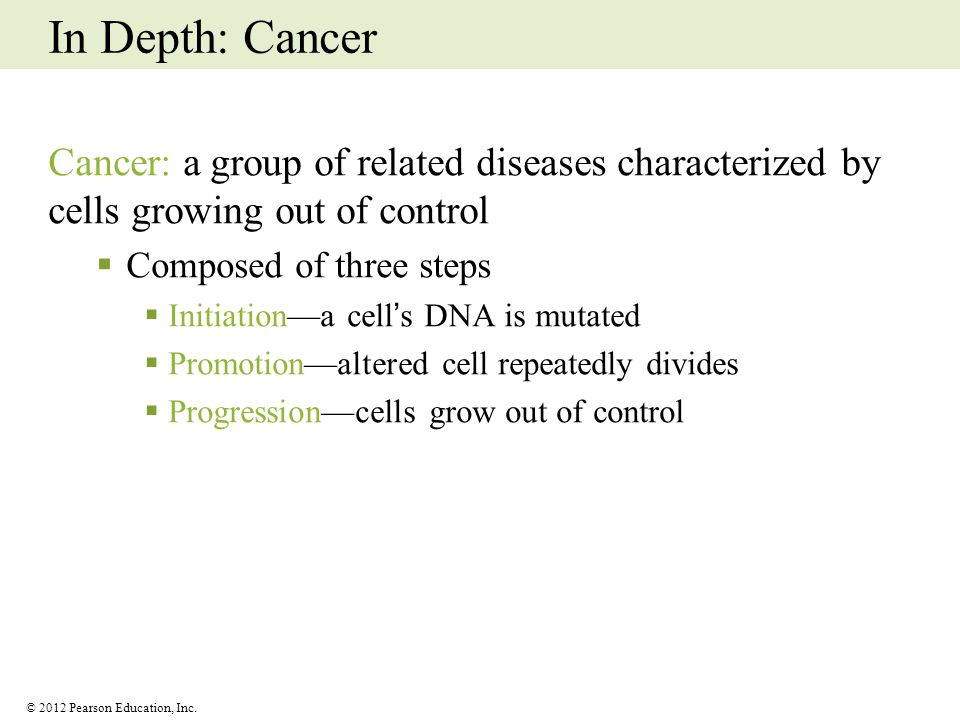 In Depth: Cancer Cancer: a group of related diseases characterized by cells growing out of control.