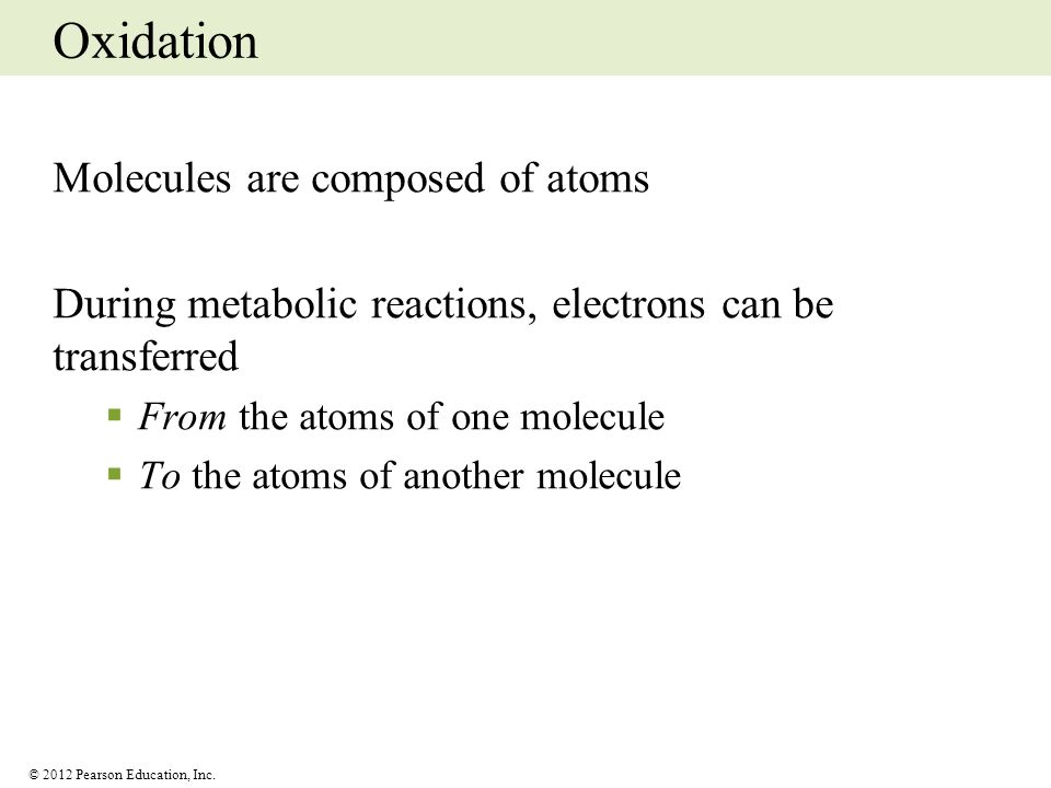 Oxidation Molecules are composed of atoms