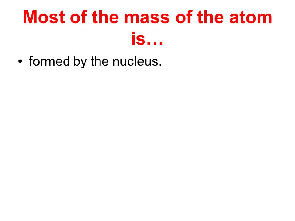 Most of the mass of the atom is…