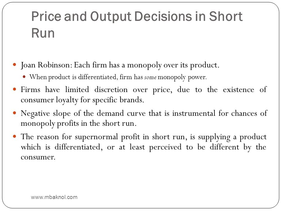 Price and Output Decisions in Short Run
