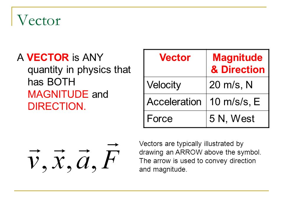 Vector A VECTOR is ANY quantity in physics that has BOTH MAGNITUDE and DIRECTION. Vector. Magnitude & Direction.